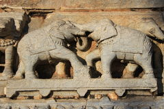 Carving of Elephants in Combat Stock Images