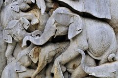 The carving of elephent wood Royalty Free Stock Photography