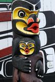 Carving faces on a totem pole