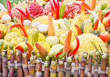 Carving, fruits and vegetables Stock Photography