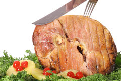 Carving a gorgeous ham Royalty Free Stock Photo