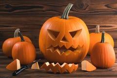 Carving Halloween pumpkin Royalty Free Stock Photo