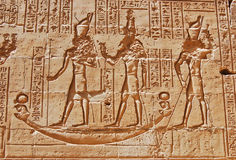 Carving of hieroglyphs at Edfu Temple Stock Photos