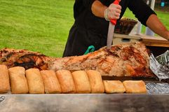Carving  hog roast Royalty Free Stock Photography