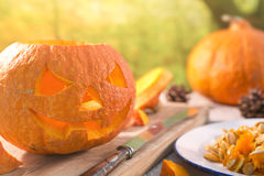 Carving a Jack O'Lantern for Halloween Royalty Free Stock Photography