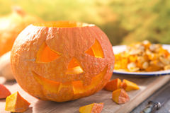 Carving a Jack O'Lantern for Halloween Royalty Free Stock Image