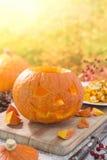 Carving a Jack O'Lantern for Halloween Stock Photos
