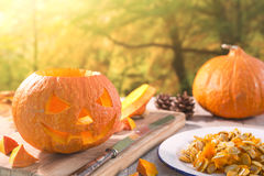Carving a Jack O& x27;Lantern for Halloween Stock Photo