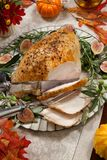 Carving Mediterranean Style Whole Roasted Turkey Breast Royalty Free Stock Photo