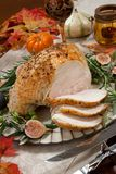 Carving Mediterranean Style Whole Roasted Turkey Breast Royalty Free Stock Image