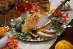 Carving Mediterranean Style Whole Roasted Turkey Breast Stock Photos