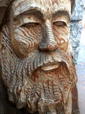 Carving of an Old Bearded Man Stock Photos