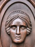 Carving of Pretty Women's Face Royalty Free Stock Images