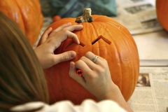 Carving the Pumpkin Stock Images