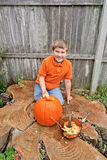 Carving a Pumpkin Stock Photography