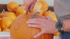 Carving pumpkin for Halloween jack-o`-lantern, time-lapse