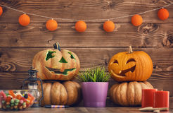 Carving pumpkin on the table Stock Photography