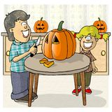 Carving pumpkins. This illustration that I created depicts a boy and girl carving a jack-o-lantern out of a pumpkin royalty free illustration