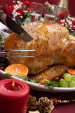 Carving Roasted Turkey for Christmas Dinner Stock Images