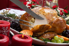 Carving Roasted Turkey for Christmas Dinner Stock Photography
