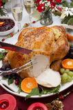 Carving Roasted Turkey for Christmas Dinner. Carving roasted herb rubbed turkey garnished with fresh grapes, oranges, and cranberry is ready for Christmas dinner Royalty Free Stock Photos