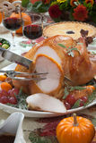 Carving Roasted Turkey on Harvest Table Stock Photos