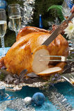 Carving Roasted Turkey for White Christmas stock photography