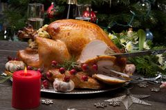Carving Rustic Style Christmas Turkey Royalty Free Stock Photo