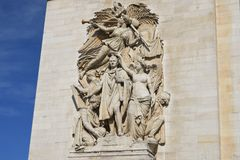 Carving on side of arc de triomphe Royalty Free Stock Photo