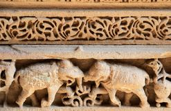 Carving on Step Well Wall Stock Image