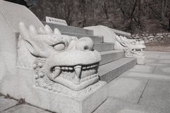 Carving stone dragon head Royalty Free Stock Photography