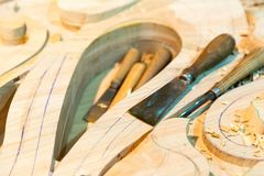 The carving tools with billets, close up Stock Photography