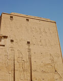 Carving on wall at Edfu temple, Egypt stock photos