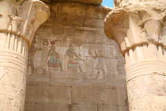 Carving wall in Edfu Temple Stock Image
