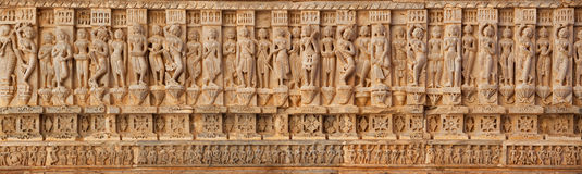 Carving on the walls of an ancient temple (Hindu) Stock Images