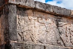 Carving of a warrior at Chichen Itza Royalty Free Stock Photography