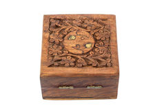 Carving wood box. On white background Royalty Free Stock Photo