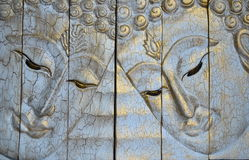The Carving wood of Buddha Face Royalty Free Stock Images