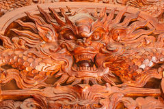 Carving wood for dragon Royalty Free Stock Images