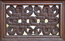 The Carving wood frame snake Royalty Free Stock Photos