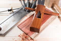 Carving wood with handtools Stock Images