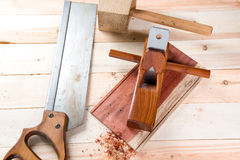 carving wood with handtools Royalty Free Stock Photography