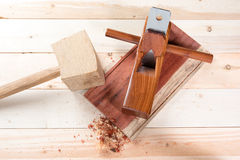 Carving wood with handtools Royalty Free Stock Image