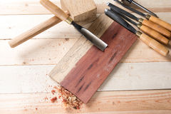 Carving wood with handtools Royalty Free Stock Photos