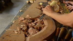 Carving wood stock video footage