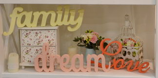 Carving words family, dream, love Royalty Free Stock Photo