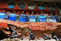 Carvings утеса Dazu, Чунцин, фарфор стоковые изображения rf
