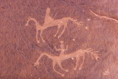 Carvings And Ancient Art On Canyon Walls Royalty Free Stock Photography