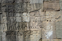 Carvings on an Angkor temple. Carved surface of Angkor temples in Siem Reap, Cambodia stock photo