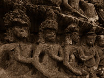 Carvings in Angkor temple Royalty Free Stock Photography
